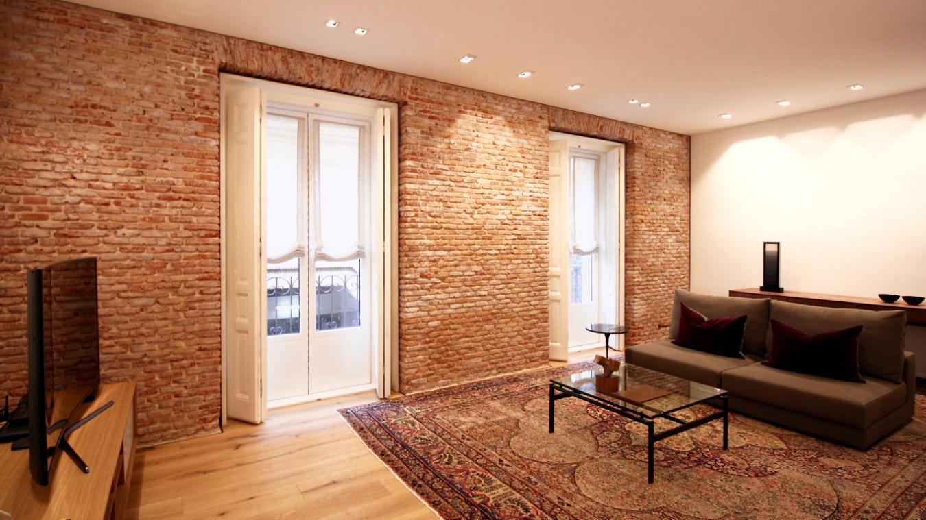 Salón, detalle pared y ventanas, Velarde I